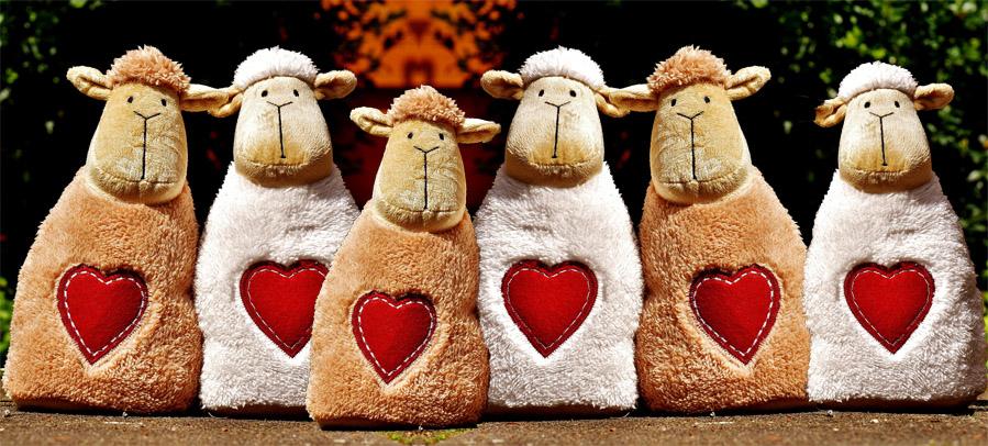 Petits moutons en peluche avec coeur
